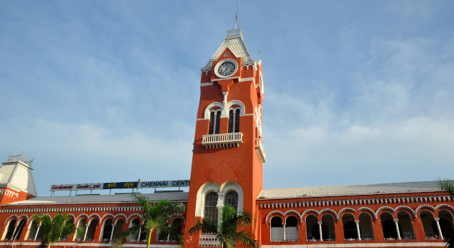 Chennai Central Railway Station connects the city with the Indian Railway Network